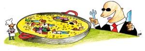 Caricatura publicada por el periódico Diagonal en su cobertura de la Huelga General en España