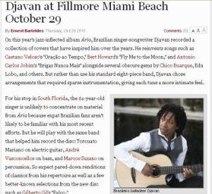 Anuncio del Concierto de Djavan en Miami New Times