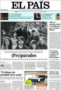 Portada que dedicó el diario español El País a los jóvenes talentosos y con preparación que no encuentran empleo en España