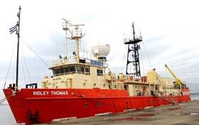El buque Ridley Thomas realizó los estudios de los fondos oceánicos para instalar el cable