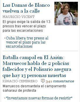 Fragmento de la sección internacional del diario español El País el 8 de noviembre de 2010