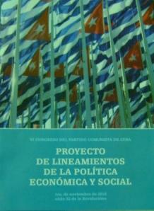 """Portada del folleto con el """"Proyecto de lineamientos de la política económica y social"""" que será sometido a un amplio debate popular"""