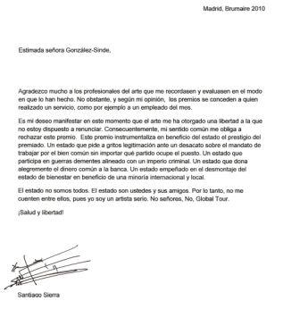 Carta de Santiago Sierra a la Ministra de Cultura de España