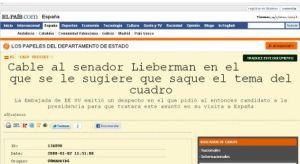 """El cable como lo publicó """"El País"""""""