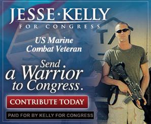 Cartel del opnente a la congresista baleada con su M-16