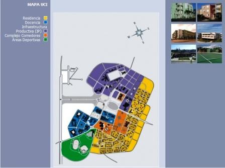 """Mapa de la Universidad de las Ciencias Informáticas en La Habana, según BBC """"un centro para prestar servicios al satélite chino"""""""