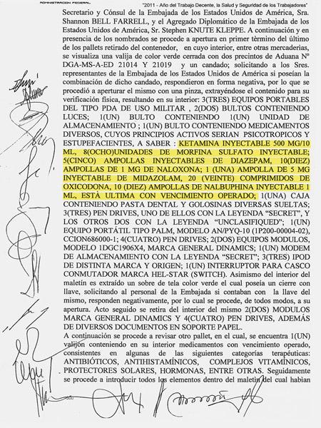 Acta de decomiso de las autoridades argentinas (en amarillo, drogas de uso médico no declaradas)