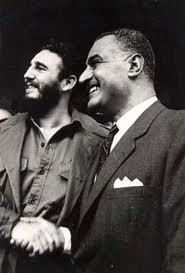 Fideljunto al líder egipcio Gamal Abdel Nasser, Presidente de Egipto durante la visita de ambos a las Naciones Unidas en Nueva York, Septiembre de 1960