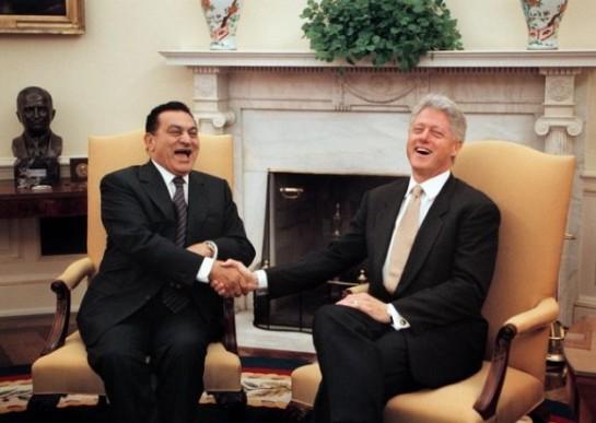 Hosni Mubarak y Bill Clinton en la Casa Blanca