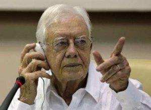 James Carter en Conferencia de prensa en el Palacio de Convenciones de La Habana