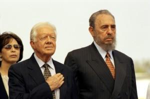James Carter junto a Fidel durante su visita a Cuba en 2002