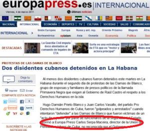 """Lo que publicó """"Europa Press"""""""
