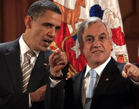 Obama junto al presidente chileno, Sebastián Piñera
