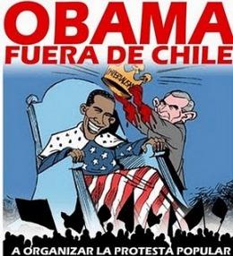 Uno de los carteles con que recibieron a Obama en Chile