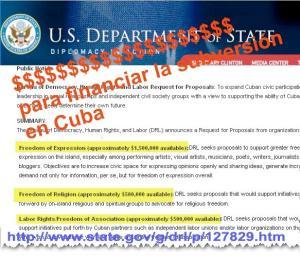 para finaciar subversión USA vs Cuba