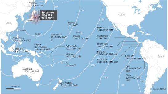 Horarios en que el tsunami asociado al terremoto en Japón irá llegando alas costas americanas del Océano Pacífico. Infografía: Reuters