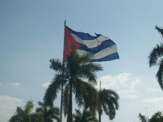 Bandera cubana en Santiago de Cuba