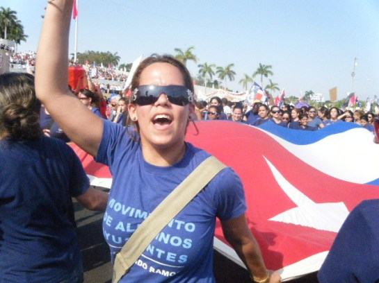 Desfile popular en La Habana, Cuba