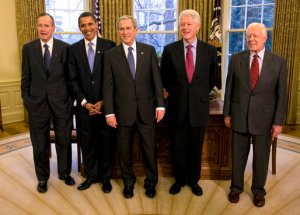 For this picture Obama preferred the Bushes company - father and son. Will it be the same in  his policy towards Cuba?