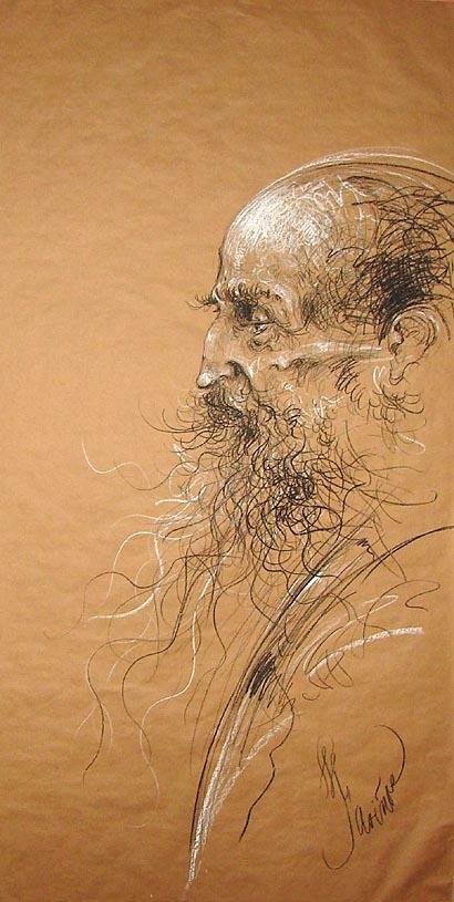 """""""Quijote"""", de José Luis Fariñas,Quijote , 20 cm x 80cm, pastel graso sobre papel kraft, 2009"""