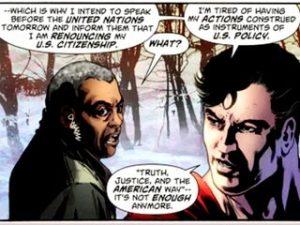 Viñeta del Action Comics 900 en la que Superman 'renuncia' a su nacionalidad.