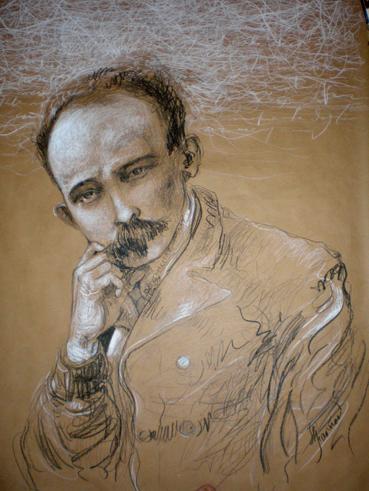 Martí, de José Luis Fariñas, creyón de óleo, 111 x 87 cm2010