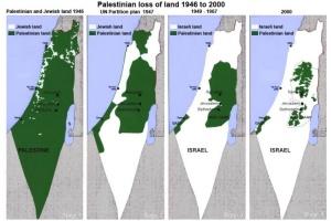 Evolución de el territorio de Israel a expensas de las tierras arrebatadas a Palestina