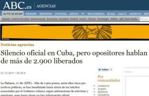 La noticia en el diario español ABC