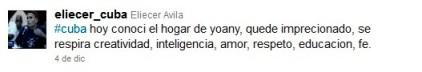 """Tweet de Eliécer Ávila donde se declara """"imprecionado"""" por Yoani Sánchez"""