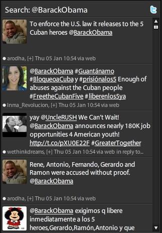 Mensajes dirigidos a Obama reclamando la libertad de los cinco antiterroristas cubanos en la Red social Twitter este 5 de enero