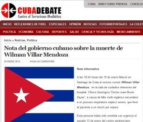 Información del gobierno cubano en Cubadebate