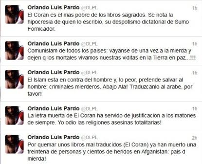 Insultos contra el Islam de Orlando Luis Pardo Lazo desde su cuenta en Twitter.