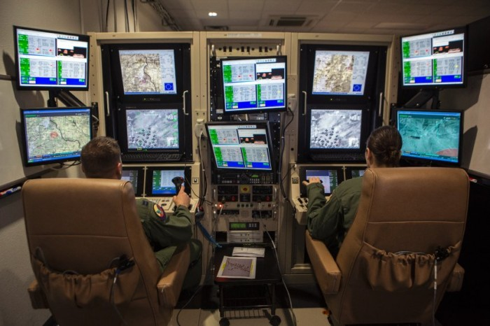 Operadores de aviones no tripulados en la Base Creech de Nuevo México