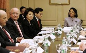 Condoleeza Rice en las comisiones de 2005. Photo: Wikipedia