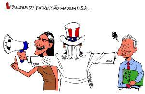 El célebre caricaturista brasileño Carlos Latuff dedicó varias de sus obras a criticar la visita de Yoani Sánchez