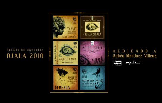 Portadas de los dicos del premio Ojalá con la poesía musicalizada de Rubén Martínez Villena