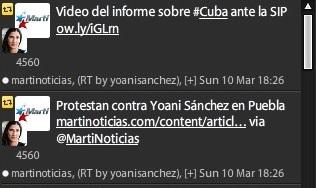 Como si hiciera falta probar su dependencia, Yoani Sánchez retuitea desde el congreso de la SIP a la emisora oficial del gobierno de EE.UU. contra Cuba, Radio Martí.