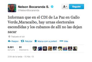 Twitter de Nelson Bocaranda que desató la violencia contra los CDI