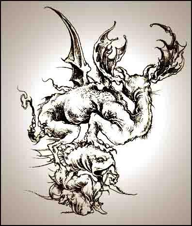 Fariñas. Monstruo, acuarela, 2004
