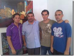 Junto a Harold Cárdenas, Roberto González y Osmani Sánchez tras la presentación de Sospechas y disidencias en Matanzas