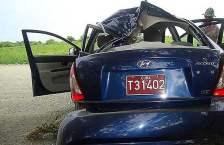 Parte trasera del auto que conducía Carromero