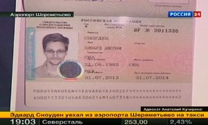 Edward Snowden in his new refugee documents granted by Russia