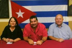 Junto a Elizabeth Noriega y Luis Pérez, de la Federación de Asociaciones de Cubanos Residentes en España