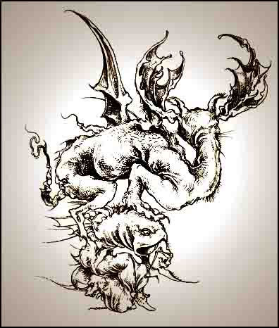 Fariñas, monstruo, acuarela, 2004