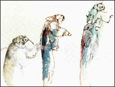 Fariñas, Los caminos del inmortal, acuarela - fragmento, 2013