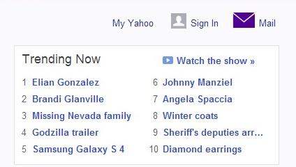 Elián González como tema número uno el martes 10 de diciembre según Yahoo