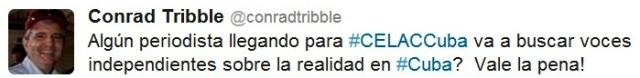 Tweet enviado por Conrad Triblle, Segundo Jefe de la Sección de Intereses de EE.UU. en Cuba en la tarde del 25 de enero.