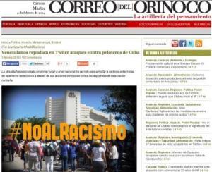 """Artículo del diario """"Correo del Orinoco, describe rechazo en Twitter a la agresión contra los peloteros cubanos"""