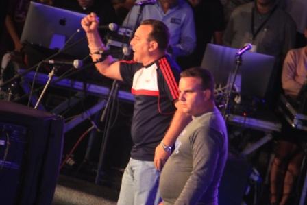 Los respentistas Hectico y Aramís en concierto de bienvenida a Fernando González.