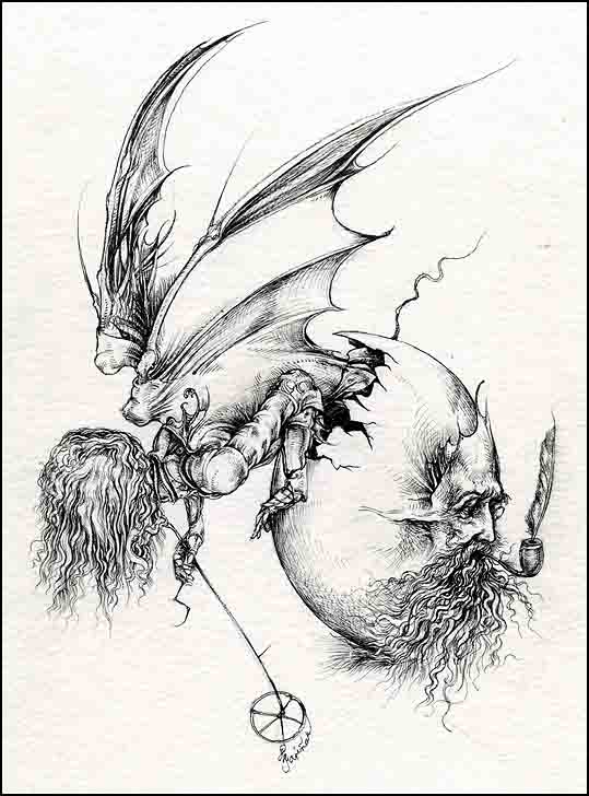 Fariñas, Diablo Ilustrado I. Acuarela.